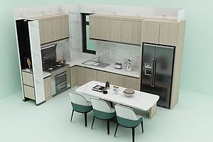厨房餐厅模型模型