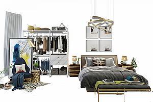卧室床衣架挂画装饰模型模型