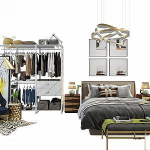 臥室床衣架掛畫裝飾模型3d模型