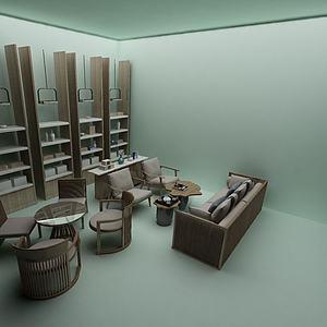桌椅柜组合模型3d模型