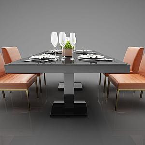 现代简约餐桌椅模型3d模型