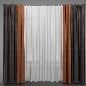 3d現代簡約窗簾模型