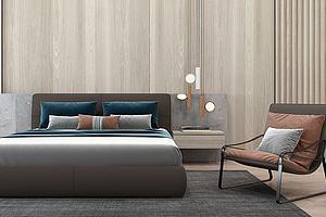 现代双人床床头柜模型模型