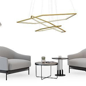 现代休闲沙发椅吊灯模型3d模型