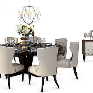 餐桌椅玄关柜组合模型3d模型