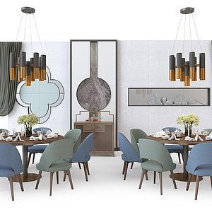 餐廳餐椅組合模型3d模型