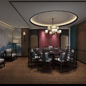 新中式酒店饭店包厢贵宾室模型