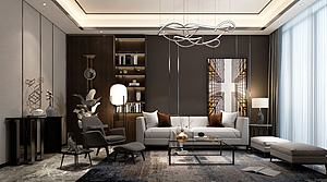 现代轻奢客厅模型3d模型