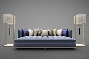 现代沙发茶几组合模型模型