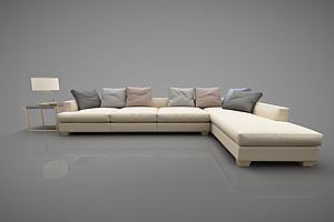 现代转角沙发多人模型模型