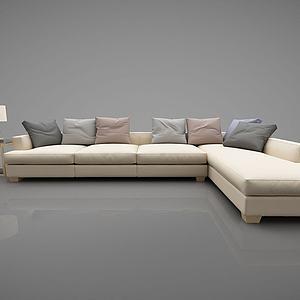 现代转角沙发多人模型3d模型