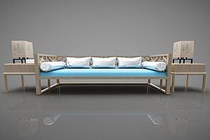 现代多人沙发茶几组合模型模型