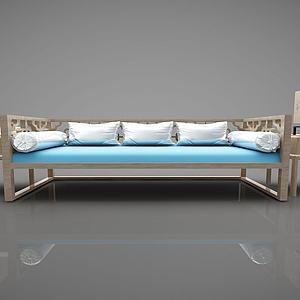 现代多人沙发茶几组合模型3d模型