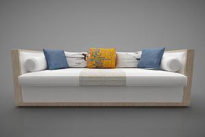 现代多人沙发布艺抱枕模型模型