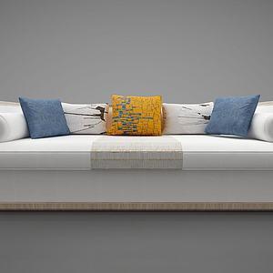 现代多人沙发?#23478;?#25265;枕模型3d模型
