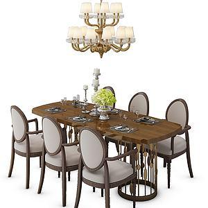 簡歐餐桌椅組合模型3d模型