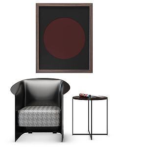 现代单人沙发边几?#19968;?#27169;型3d模型