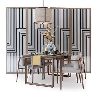 中式餐桌椅屏風組合模型3d模型