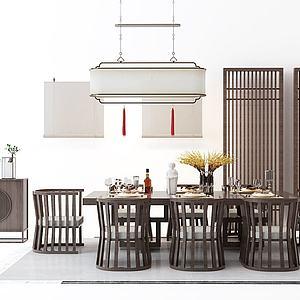 新中式餐桌椅屏風吊燈組合模型3d模型