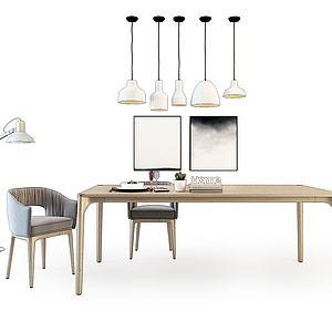 北歐餐桌椅組合模型3d模型