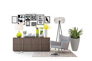 现代休闲椅电视柜模型模型