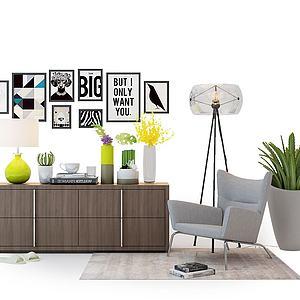 現代休閑椅電視柜模型3d模型