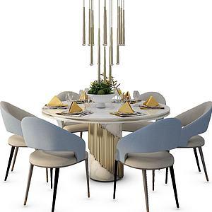 現代圓形餐桌模型3d模型
