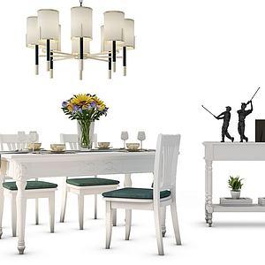 歐式餐桌椅組合模型3d模型