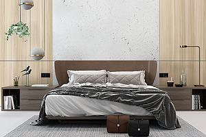 现代双人床卧室模型模型