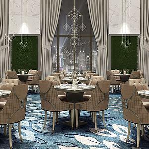 现代轻奢餐厅餐桌椅模型3d模型