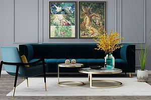 现代轻奢客厅模型模型