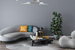 后现代客厅沙发茶几组合模型模型