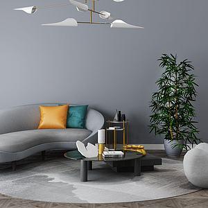 后现代客厅沙发茶几组合模型3d模型