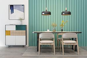 北歐實木餐桌椅吊燈裝飾柜模型3d模型