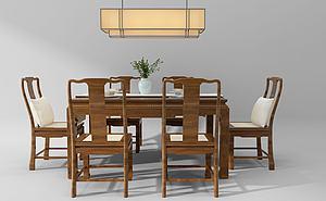中式餐桌椅吊灯组合模型模型