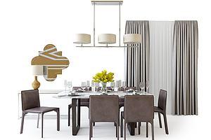 现代餐桌椅吊灯组合模型模型