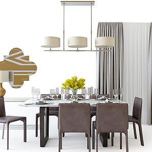 現代餐桌椅吊燈組合模型3d模型