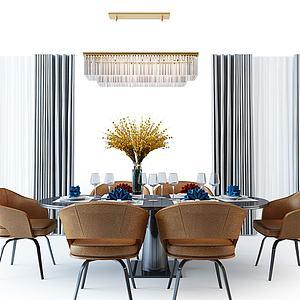 現代餐桌椅吊燈模型3d模型