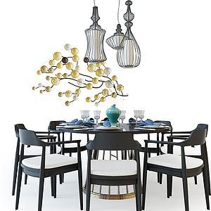 3d中式餐桌椅組合模型
