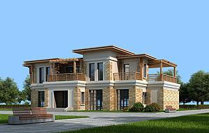 现代二层别墅洋房建筑外观模型3d模型