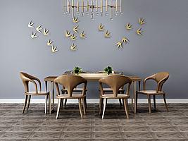 餐厅吊灯桌椅组合