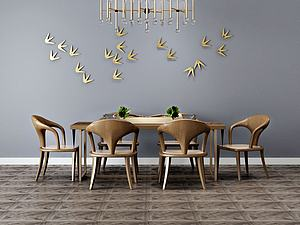 餐廳吊燈桌椅組合模型3d模型