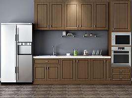 整体厨房冰箱橱柜组合模型模型