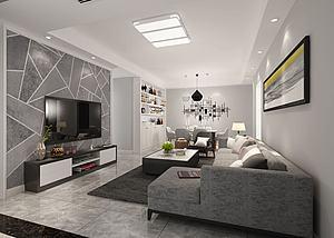 现代组合沙发茶几电视柜模型3d模型