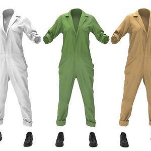 连体裤工作服模型