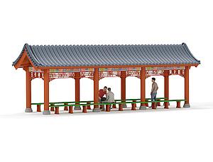 中式古建景观长廊花架连廊模型3d模型