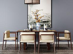 餐廳桌椅組合模型3d模型