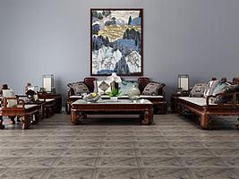 中式客厅沙发茶几组合模型模型