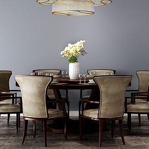 中式餐廳圓桌桌椅模型3d模型