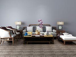 新中式沙发茶几组合模型模型